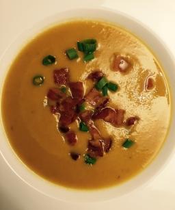 Sweet Potato Apple Soup w/Bacon