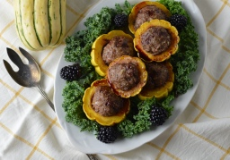 Lamb-stuffed Delicata w/Blackberry Balsamic Drizzle